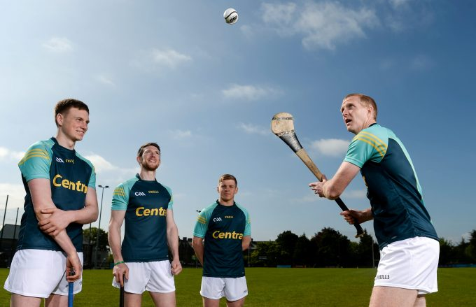16 May 2016; Centra ambassadors, from left, Waterford hurler Austin Gleeson, Limerick hurler Seamus Hickey, Clare hurler Podge Collins and former Kilkenny hurler Henry Shefflin, pictured at today's Centra Live Well hurling launch in CLG Na Fianna which included the announcement that the retailer will continue its sponsorship of the All-Ireland Senior Hurling Championship up to 2019. As part of this year's campaign Centra has introduced a series of #GetActive hurling challenges to encourage fans of all ages to pick up a hurl, test their skills and upload their videos to win big prizes. For more information on how to take part go to www.centra.ie or follow Centra Ireland on social media. Na Fianna, Mobhi Road, Dublin. Picture credit: Ramsey Cardy / SPORTSFILE *** NO REPRODUCTION FEE ***